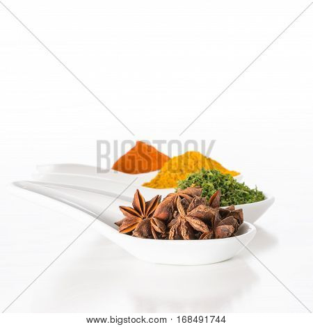 Several dried spices displayed on white spoons.