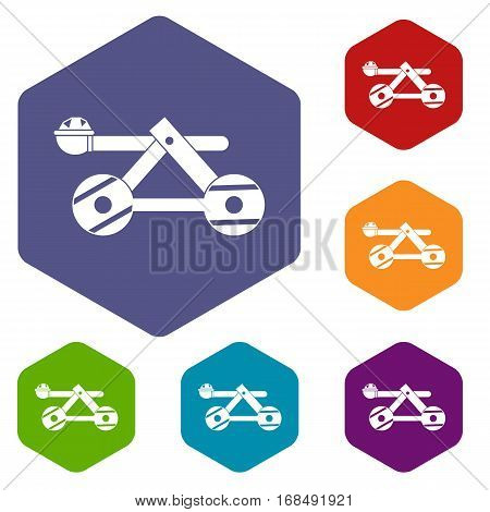 Ancient wooden catapult icons set rhombus in different colors isolated on white background