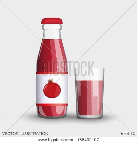 Garnet Juice In A Transparent Glass Bottle Isolated