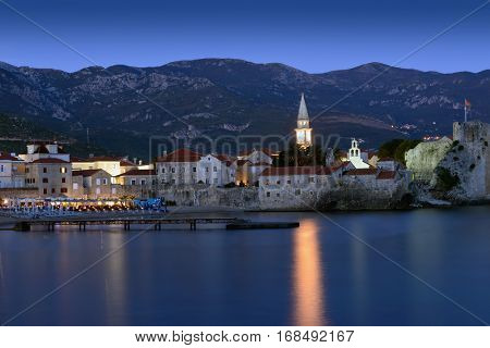 Budva old  town castle, night scene, Montenegro, Europe