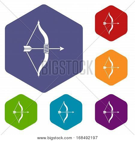 Bow and arrow icons set rhombus in different colors isolated on white background