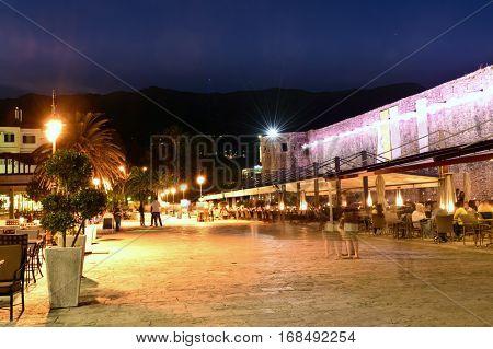 Budva old  town cafe, night scene, Montenegro, Europe