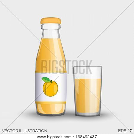 Apricot Juice In A Transparent Glass Bottle Isolated