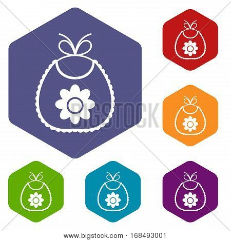 Baby bib icons set rhombus in different colors isolated on white background