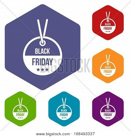 Black Friday sale tag icons set rhombus in different colors isolated on white background