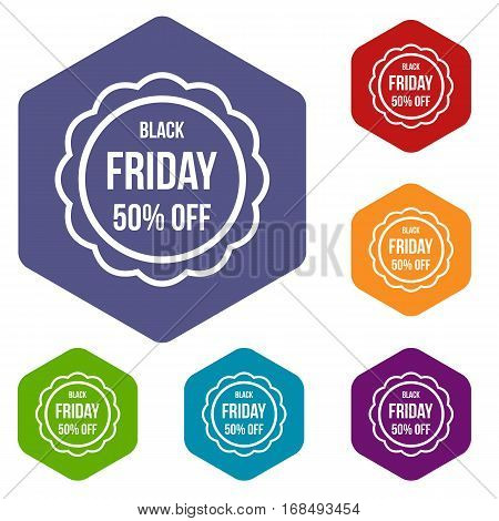 Sale sticker 50 percent off icons set rhombus in different colors isolated on white background
