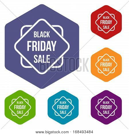 Black Friday sale sticker icons set rhombus in different colors isolated on white background