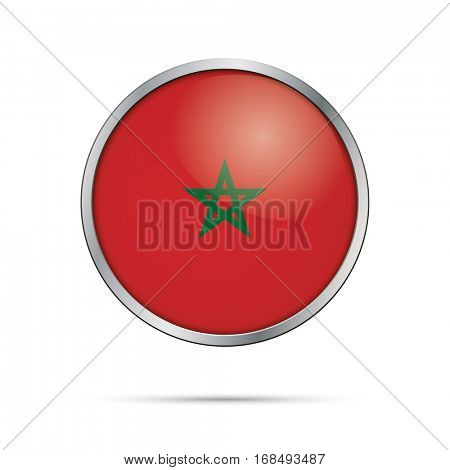 Vector Moroccan flag button. Morocco flag glass button style with metal frame.