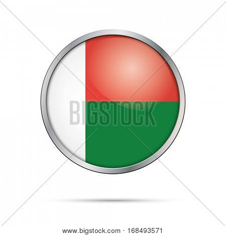 Vector Madagascan flag button. Madagascar flag glass button style with metal frame.