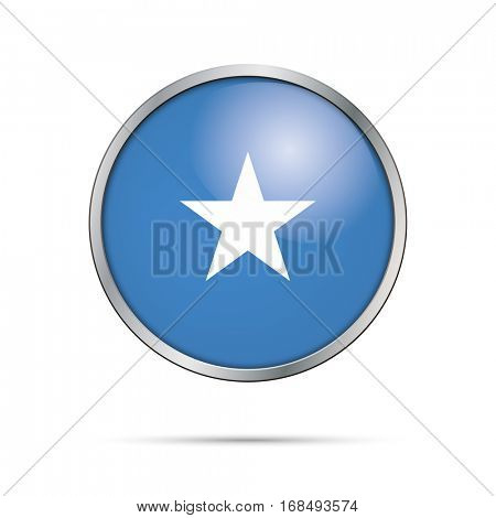 Vector Somalian flag button. Somalia flag glass button style with metal frame.