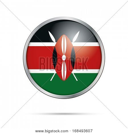 Vector Kenyan flag button. Kenya flag glass button style with metal frame.