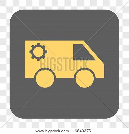 Service Car interface toolbar button. Vector icon style is a flat symbol on a rounded square button yellow and gray colors chess transparent background.