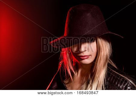 Portrait Of A Pretty Young Girl In A Big Hat