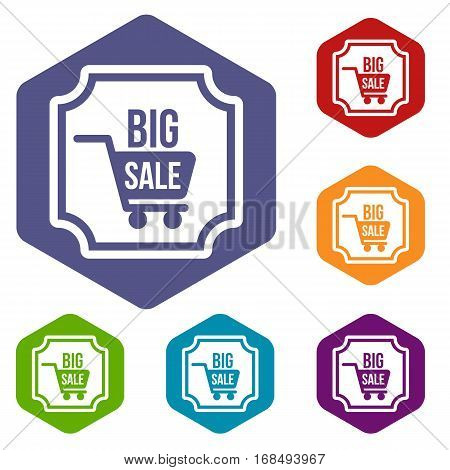 Big sale sticker icons set rhombus in different colors isolated on white background