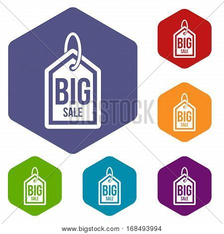 Big sale tag icons set rhombus in different colors isolated on white background
