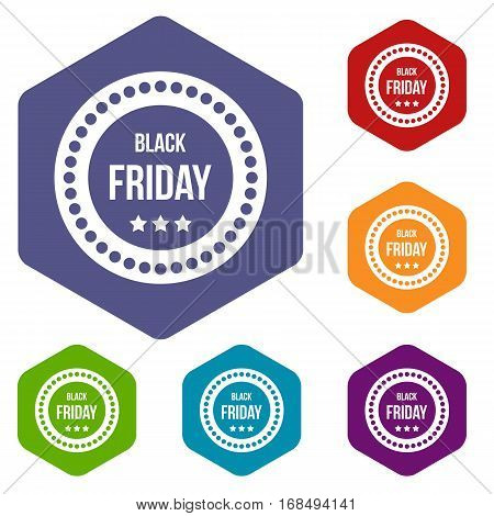 Black Friday sticker icons set rhombus in different colors isolated on white background