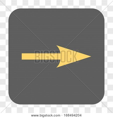 Sharp Arrow Right interface toolbar button. Vector icon style is a flat symbol on a rounded square button yellow and gray colors chess transparent background.
