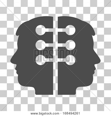 Dual Head Interface icon. Vector illustration style is flat iconic symbol, gray color, transparent background. Designed for web and software interfaces.