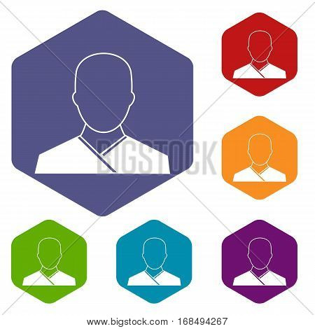Buddhist monk icons set rhombus in different colors isolated on white background