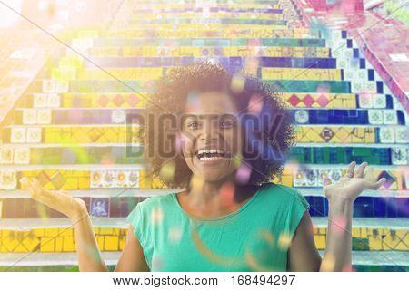 Brazilian mulato smiling in Rio de Janeiro, Brazil