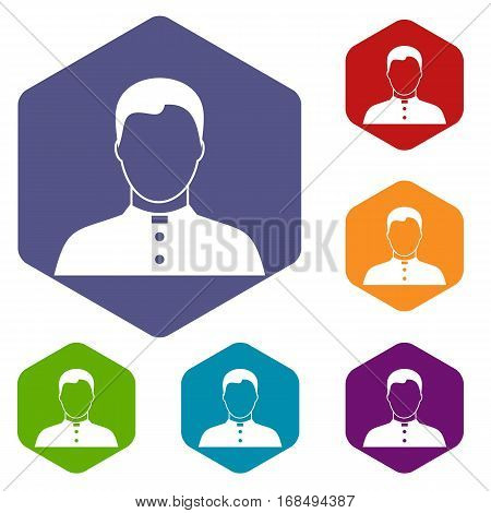 Pastor icons set rhombus in different colors isolated on white background