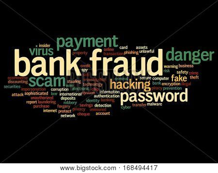 Concept or conceptual bank fraud payment scam danger abstract word cloud isolated on background metaphor to password hacking, virus fake authentication crime, illegal transaction identity theft
