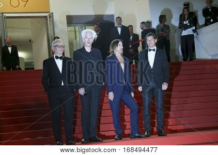 Jim Jarmusch, Thierry Fremaux, Iggy Pop attends the 'Gimme Danger' Premiere during the 69th annual Cannes Film Festival at the Palais des Festivals on May 19, 2016 in Cannes, France.