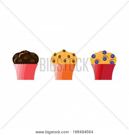 Muffin icons set. Muffins with chocolate chips raisins and blueberries. Vector illustration in flat style.