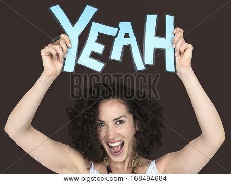 Adult Women Hands Yeah Word Expression Studio