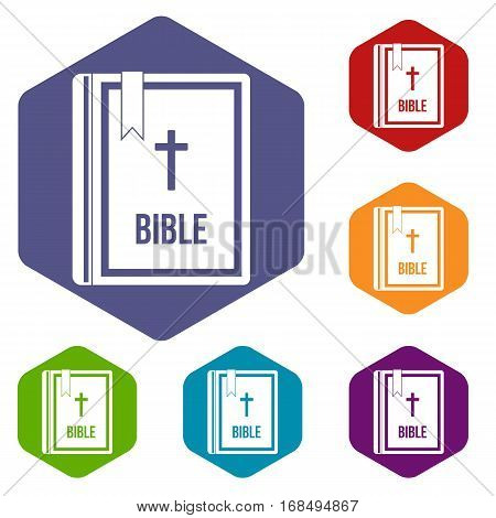 Bible icons set rhombus in different colors isolated on white background