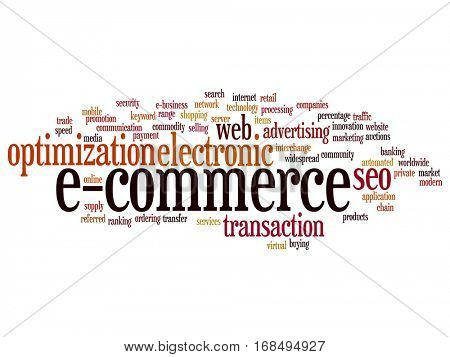 Concept or conceptual E-commerce electronic sales abstract word cloud isolated on background metaphor to seo, optimization, transaction, web advertising, e-business, technology, worldwide supply