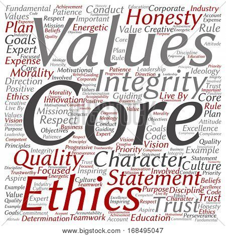 Conceptual core values integrity ethics square concept word cloud isolated on background metaphor to honesty, quality, trust, statement, character, important, perseverance, respect trustworthy