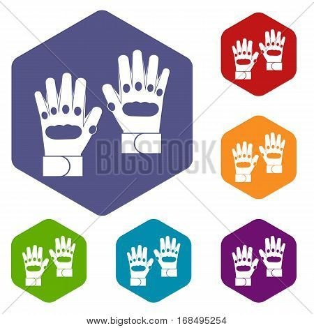 Pair of paintball gloves icons set rhombus in different colors isolated on white background