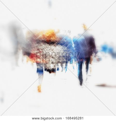 Blurred color images of people walking in the city for background usage, high key.