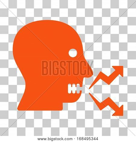 Angry Person Shout icon. Vector illustration style is flat iconic symbol, orange color, transparent background. Designed for web and software interfaces.
