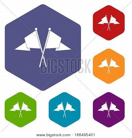 Two flags icons set rhombus in different colors isolated on white background
