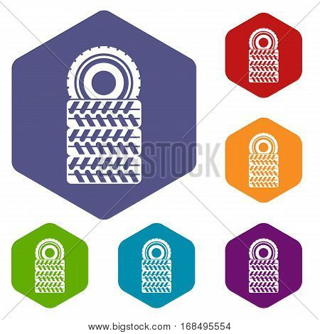 Pile of tires icons set rhombus in different colors isolated on white background