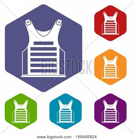 Paintball vest icons set rhombus in different colors isolated on white background