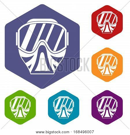Paintball mask icons set rhombus in different colors isolated on white background