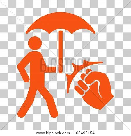 Crime Coverage icon. Vector illustration style is flat iconic symbol, orange color, transparent background. Designed for web and software interfaces.