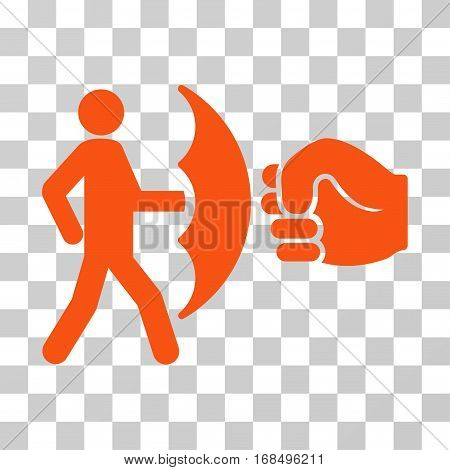Crime Protection icon. Vector illustration style is flat iconic symbol, orange color, transparent background. Designed for web and software interfaces.