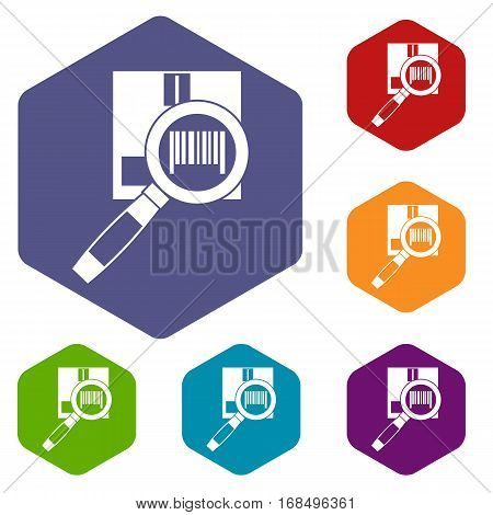 Magnifier and diskette icons set rhombus in different colors isolated on white background