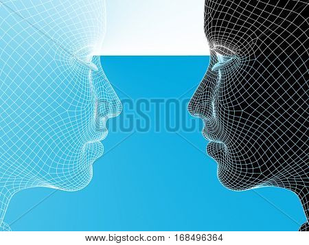 Concept or conceptual 3D illustration wireframe young human female or woman face or head on blue background for technology, cyborg, digital, virtual, avatar, model, science, love relation or future
