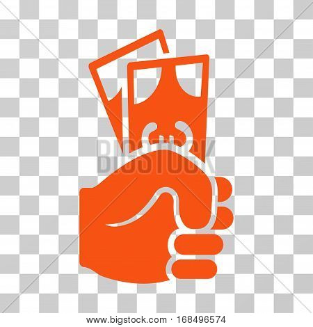 Euro Banknotes Salary icon. Vector illustration style is flat iconic symbol, orange color, transparent background. Designed for web and software interfaces.