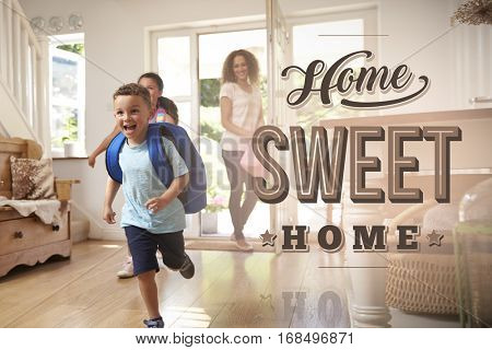 Excited Family At New Home Sweet Home