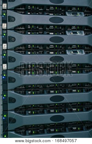 Many of the same server in a rack server room