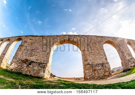 Ruins of Kamares Aqueduct near Larnaca Cyprus.