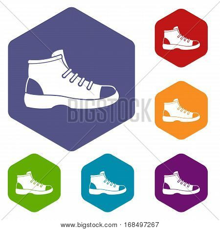 Tourist shoe icons set rhombus in different colors isolated on white background