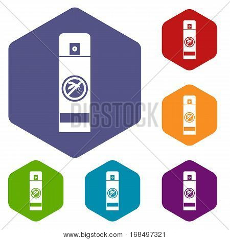 Mosquito spray icons set rhombus in different colors isolated on white background