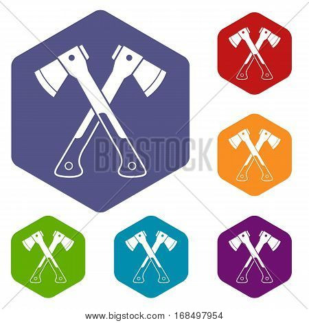 Crossed axes icons set rhombus in different colors isolated on white background